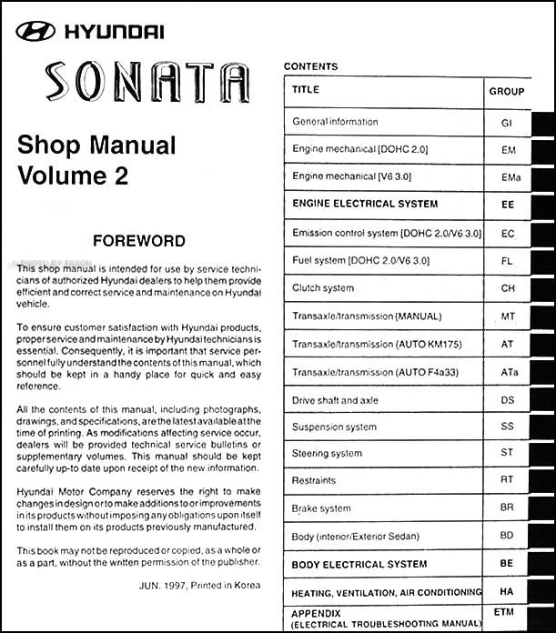 1998 hyundai sonata repair shop manual original 2 volume set rh faxonautoliterature com hyundai sonata haynes repair manual pdf hyundai sonata repair manual pdf