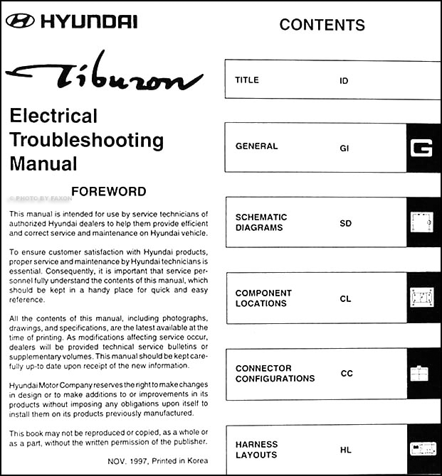 1998HyundaiTiburonETM TOC 1998 hyundai tiburon electrical troubleshooting manual original 1998 hyundai excel radio wiring diagram at eliteediting.co