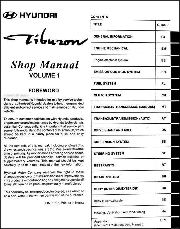 1998 hyundai tiburon repair shop manual original 2 vol set rh faxonautoliterature com 2005 Hyundai Tiburon Interior 2005 Hyundai Tiburon GT Interior