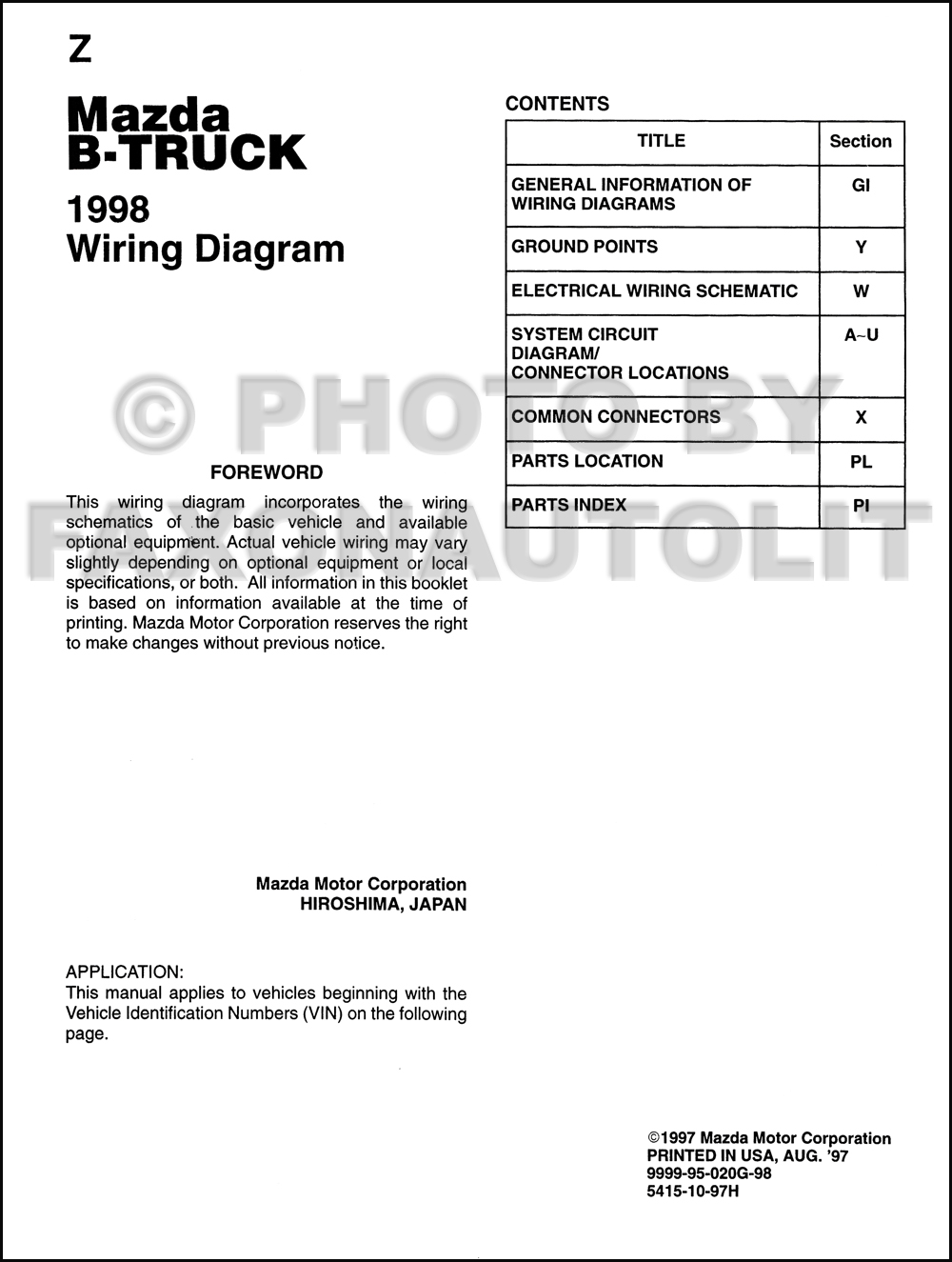 1998 Mazda B4000 B3000 B2500 Pickup Truck Wiring Diagram