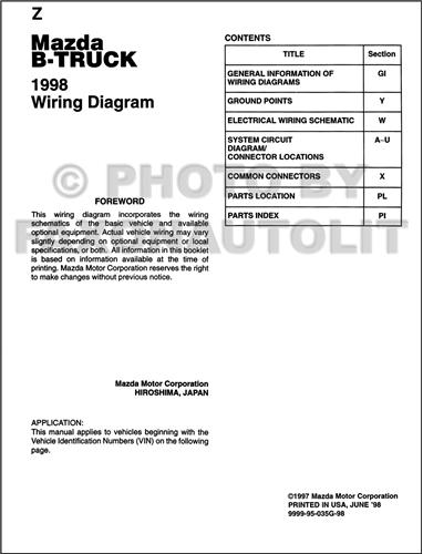 1998       Mazda    B4000 B3000 B2300    Pickup       Truck    Wiring    Diagram    Manual Original 2 and 4 door