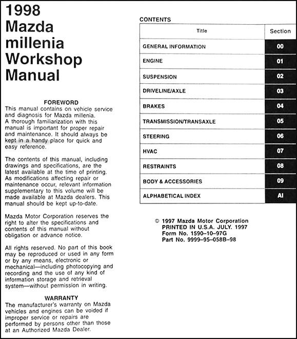 1998 mazda millenia repair shop manual original rh faxonautoliterature com 2001 mazda millenia repair manual pdf mazda millenia repair manual pdf