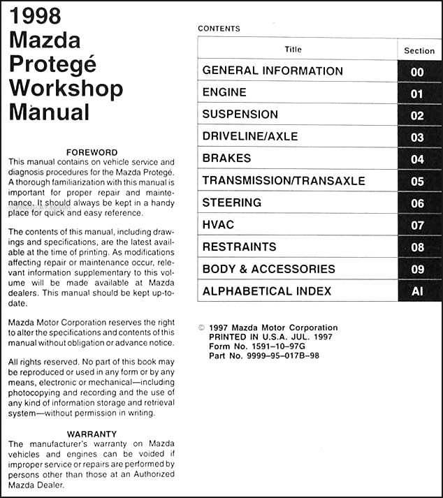 1998 mazda protege repair shop manual original rh faxonautoliterature com 1999 Mazda Protege Manual Mazda Protege JDM