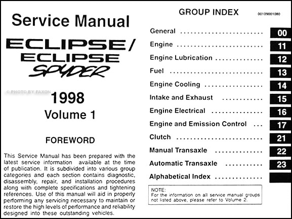 1998 mitsubishi eclipse  eclipse spyder repair shop manual set original 98 mitsubishi eclipse wiring diagram 2002 Mitsubishi Eclipse Radio Wiring Diagram