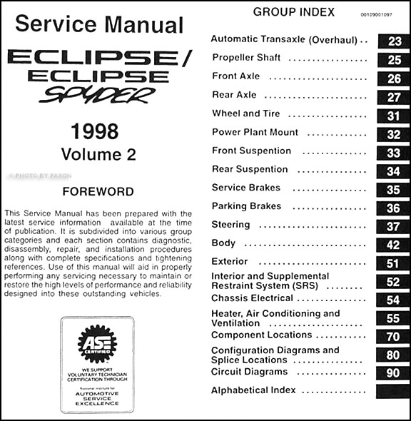 1998 mitsubishi eclipse eclipse spyder repair shop manual set original rh faxonautoliterature com 1998 Mitsubishi Eclipse Turbo 1998 mitsubishi eclipse gst service manual