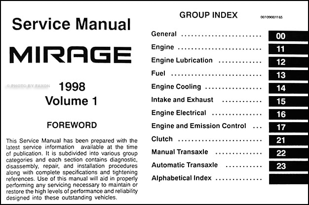 1998 mitsubishi mirage repair shop manual set original alternator wiring 1998 mitsubishi mirage repair manual set original · table of contents