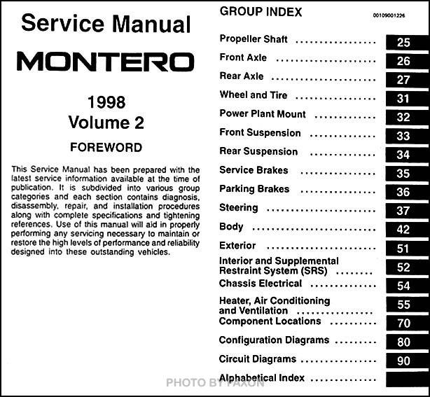 1998 mitsubishi montero factory service manual 1998. Black Bedroom Furniture Sets. Home Design Ideas