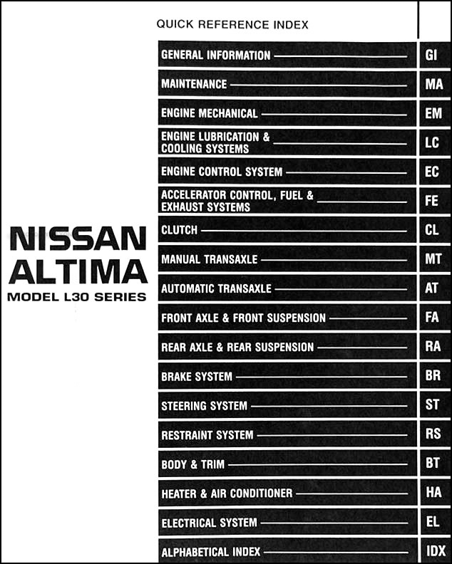 1998NissanAltimaORM TOC 1998 nissan altima repair shop manual original ultima wiring harness troubleshooting at alyssarenee.co