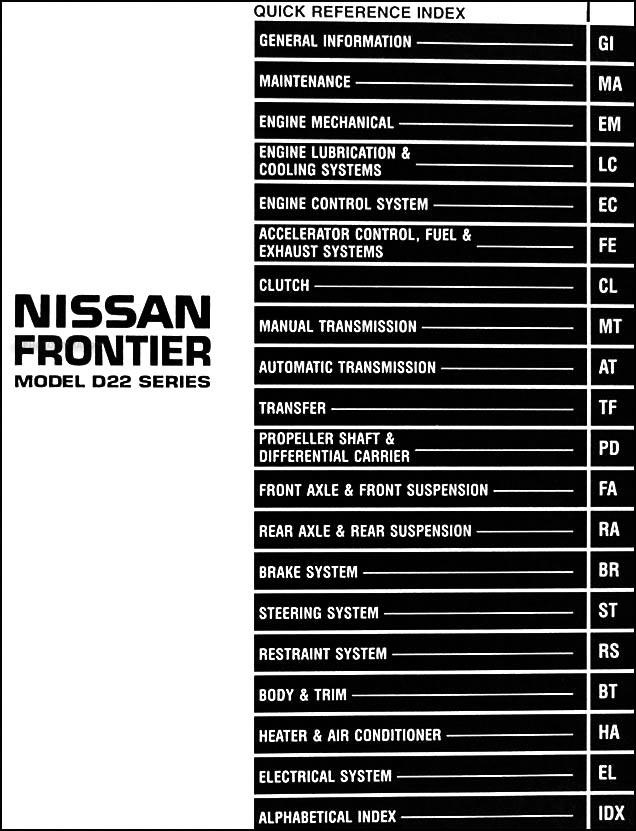 1998NissanFrontierORM TOC 1998 nissan frontier pickup truck repair shop manual original 2009 nissan frontier fuse diagram at webbmarketing.co
