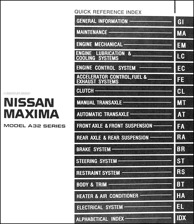 1998NissanMaximaORM TOC 1998 nissan maxima repair shop manual original nissan maxima wiring diagram at bayanpartner.co