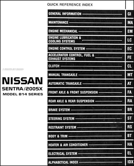 1998NissanSentra2.0LORM TOC 1998 nissan sentra 200sx 2 0l repair shop manual original 1998 nissan sentra wiring diagram at soozxer.org
