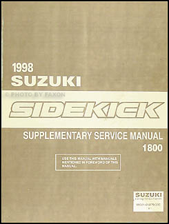 1998 Suzuki Sidekick Sport 1800 Repair Manual Supplement Original