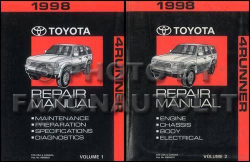 1998 Toyota 4runner Repair Shop Manual Original 2 Volume Set