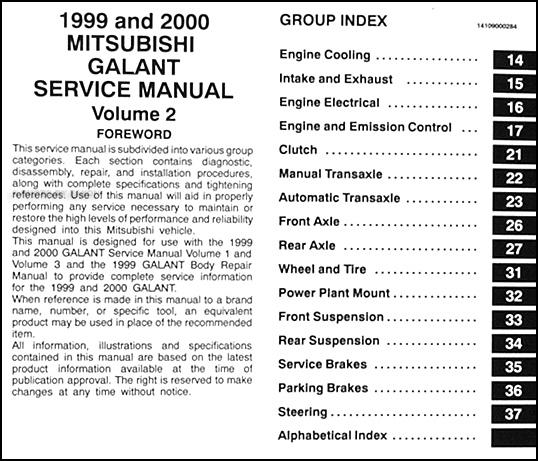 1999 2000 mitsubishi galant repair shop manual set original rh faxonautoliterature com 2000 mitsubishi galant owners manual pdf manual mitsubishi galant 2000 español