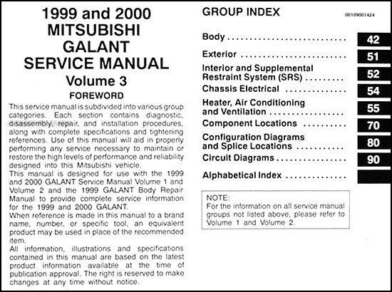 1999 2000 mitsubishi galant repair shop manual set original rh faxonautoliterature com 2000 mitsubishi galant service manual 2000 mitsubishi galant service manual