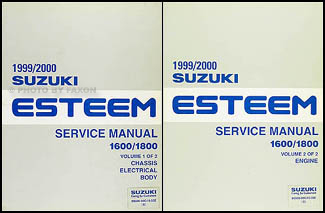 1999 2000 suzuki esteem repair shop manual set original 1600 1800 rh faxonautoliterature com 2001 Suzuki Esteem Alternator Replacement 2001 Suzuki Esteem Alternator Replacement