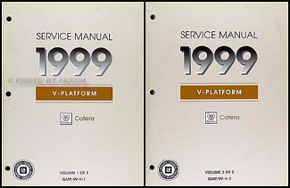 1999 cadillac catera repair shop manual original 2 volume set rh faxonautoliterature com 2001 Cadillac Catera Interior 99 cadillac catera repair manual