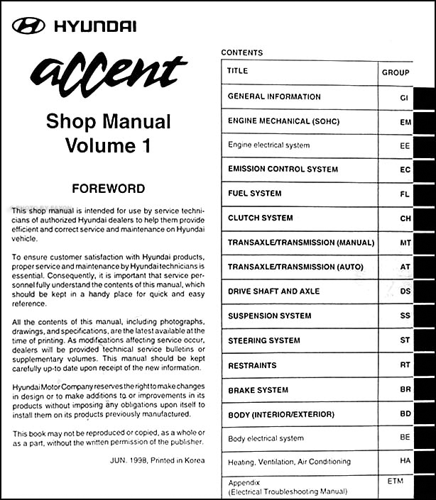 1999 Hyundai Accent Repair Shop Manual Original 2 Volume Set