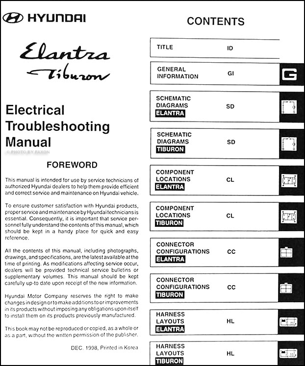 1999 hyundai elantra and tiburon electrical troubleshooting manual rh faxonautoliterature com 2000 Hyundai Elantra 2000 Hyundai Elantra