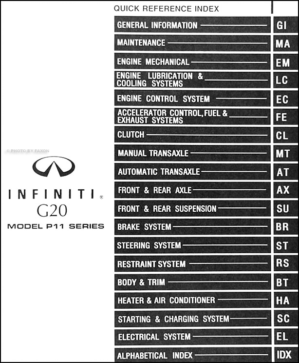 1999InfinitiG20ORM TOC 1996 infiniti g20 stereo wiring diagram 1996 wiring diagrams Crutchfield Car Stereo Wire Diagram at honlapkeszites.co