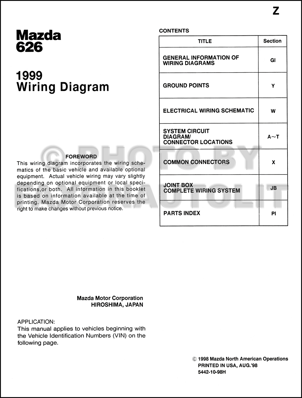 1999 Mazda 626 Wiring Diagram Manual Original