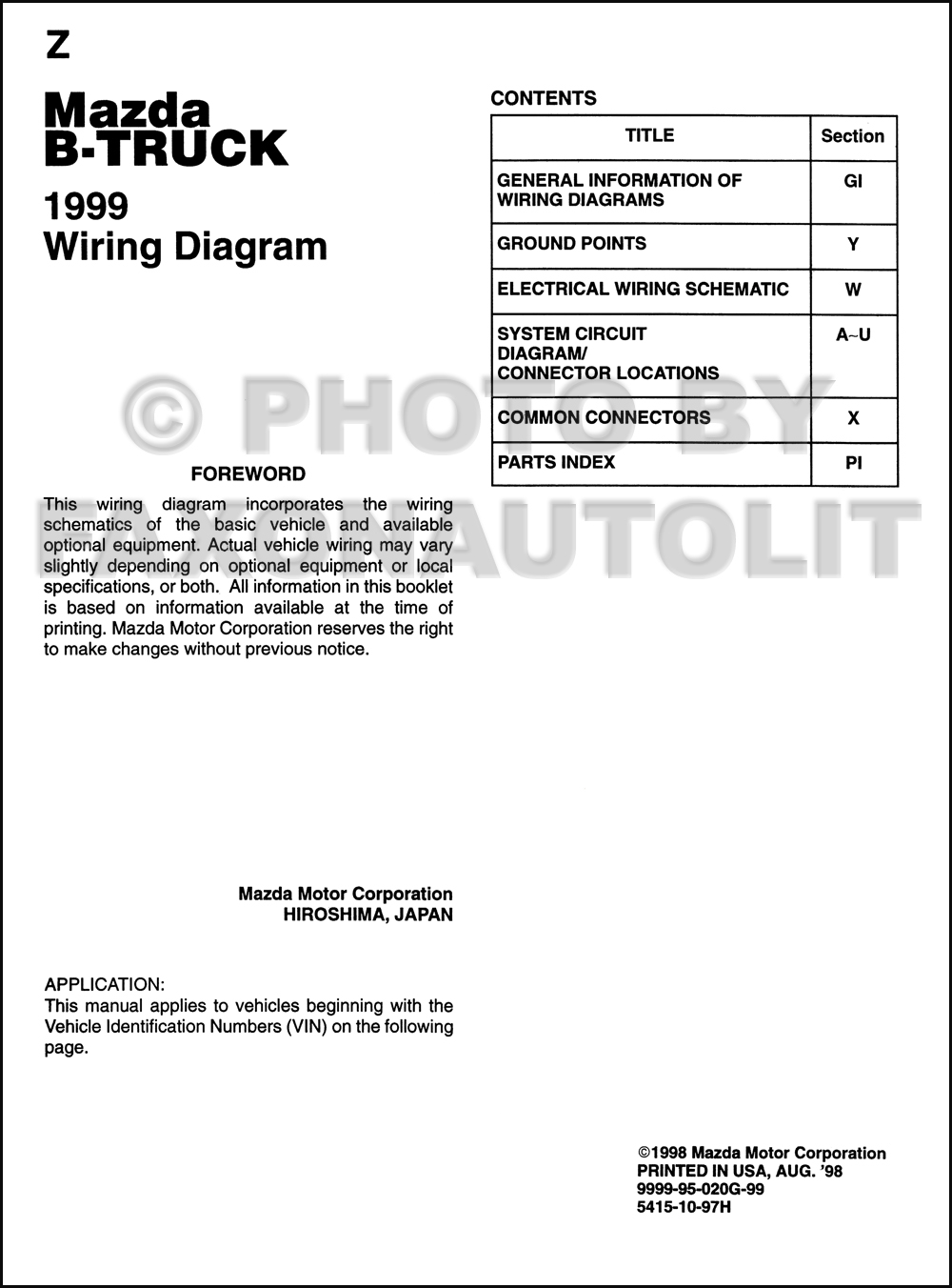 1999 Mazda B3000 Wiring Diagram Diagrams 96 B2300 Fuse Box B4000 B2500 Pickup Truck Engine