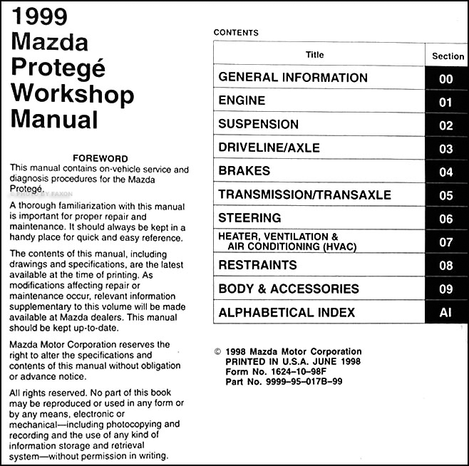 1999MazdaProtegeORM TOC 1999 mazda protege repair shop manual original 1999 mazda protege radio wiring color diagram at bayanpartner.co