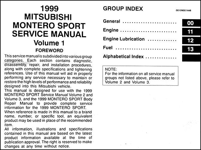 1999MitsubishiMonteroSportORM TOC1 1999 mitsubishi montero sport repair shop manual set original wiring diagram for mitsubishi montero sport at gsmportal.co