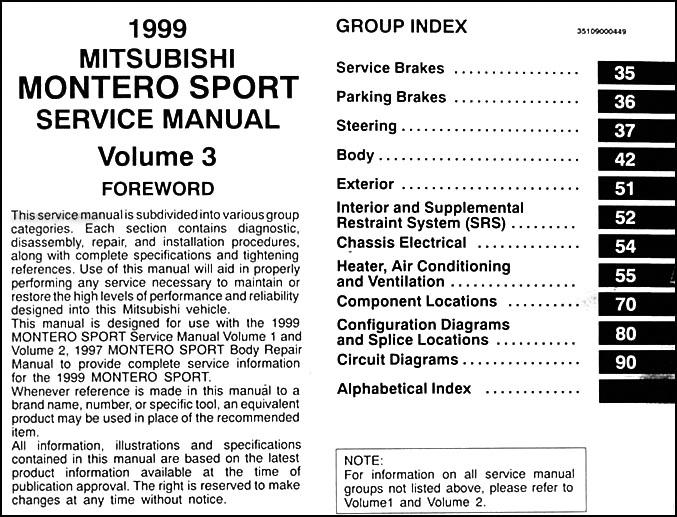 service manual pdf 1999 mitsubishi montero service