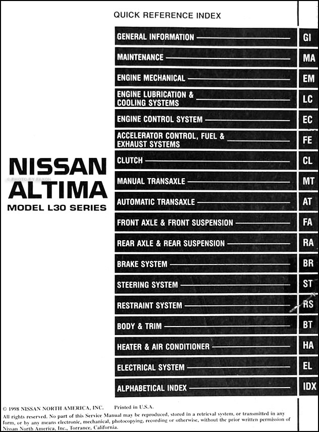 1999 nissan altima repair shop manual original. Black Bedroom Furniture Sets. Home Design Ideas