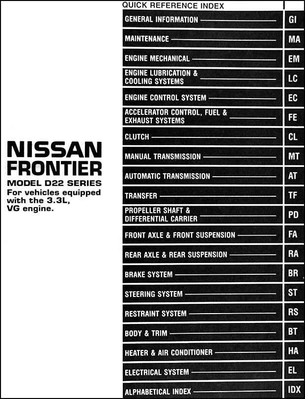 1999NissanFrontier3.3LORM TOC 1999 nissan frontier repair shop manual 3 3l vg engine original 1999 nissan frontier radio wiring diagram at creativeand.co