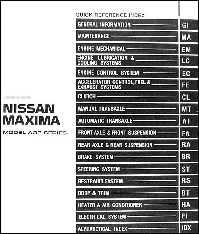 1999NissanMaximaORM TOC 1999 nissan maxima repair shop manual original wiring diagram for 1999 nissan maxima at alyssarenee.co