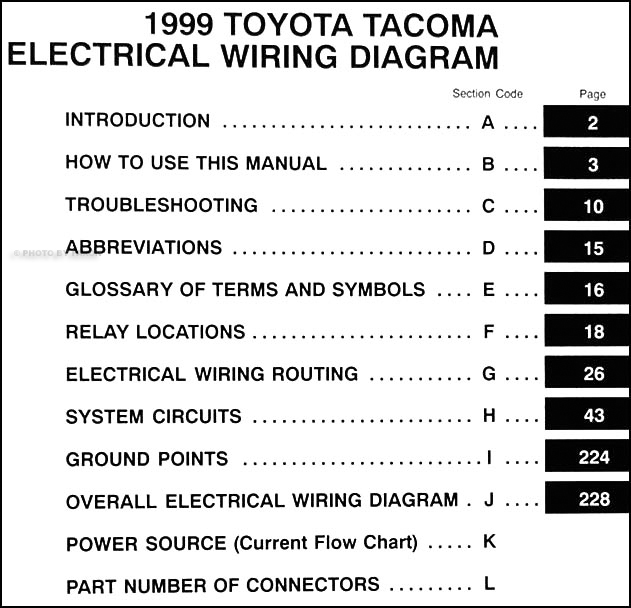 1999ToyotaTacomaWD TOC 1999 toyota tacoma pickup wiring diagram manual original 2009 tacoma wiring diagram at gsmx.co