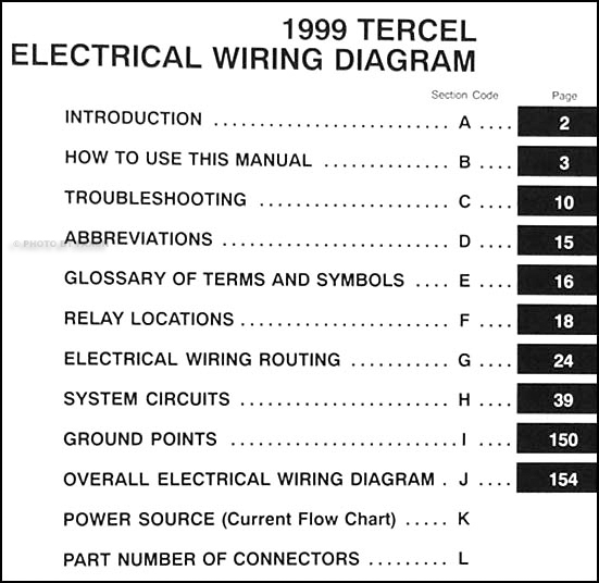 1999ToyotaTercelWD TOC 1999 toyota tercel wiring diagram manual original wiring diagram toyota tercel 1999 at bakdesigns.co