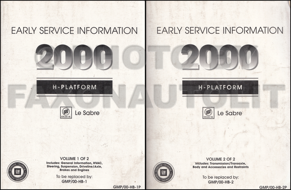 2000 Buick Lesabre Early Shop Manual 2 Volume Set Repair