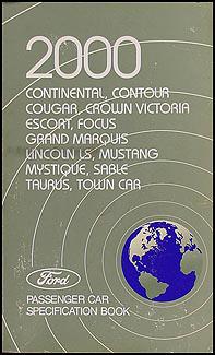 2000 Ford Lincoln Mercury Service Specifications Book Original