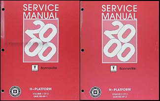 2000 Pontiac Bonneville Repair Manual Original 2 Volume Set