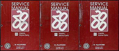 2000 impala and monte carlo repair shop manual original 3 volume set rh faxonautoliterature com 2007 Chevy Impala SS 2015 Chevy Impala Interior