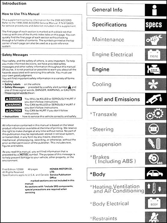 2000 honda accord ex sulev repair shop manual original supplement rh faxonautoliterature com 2000 honda accord v6 repair manual pdf 2000 honda accord lx repair manual