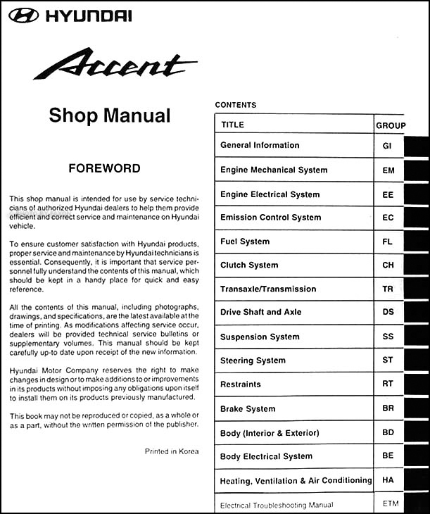 2000 hyundai accent repair shop manual original hyundai accent 2000 repair manual hyundai accent 2000 service manual free download
