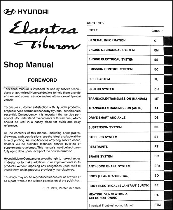 2000 hyundai elantra and tiburon repair shop manual original. Black Bedroom Furniture Sets. Home Design Ideas