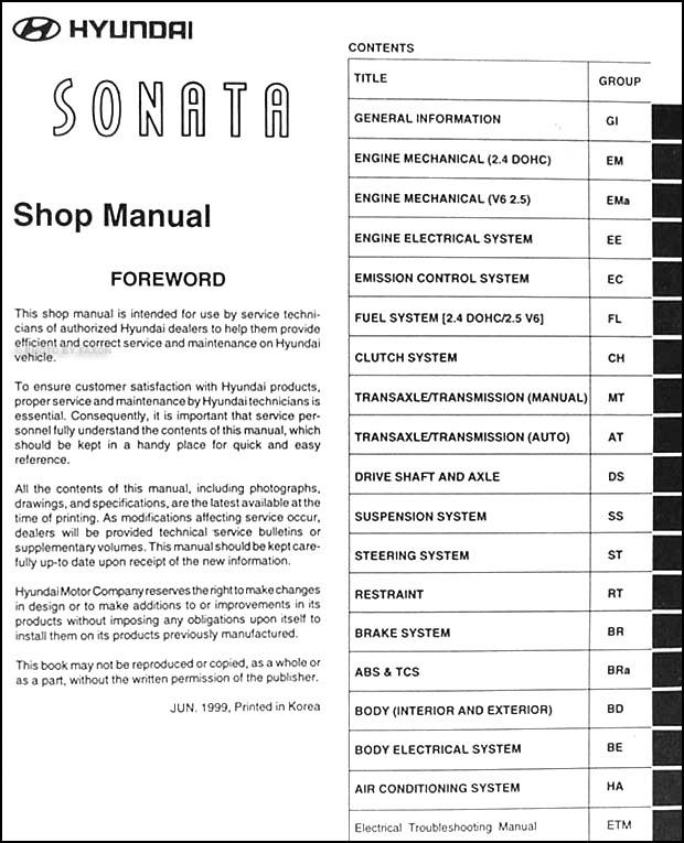 2000 hyundai sonata repair shop manual original rh faxonautoliterature com 2000 hyundai elantra service manual pdf 2000 hyundai accent repair manual