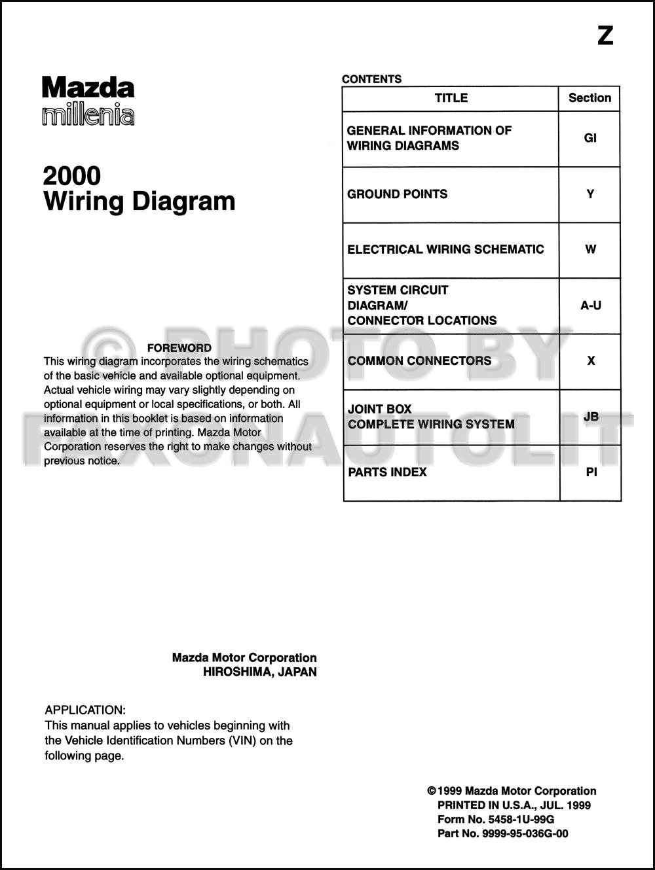 2000 mazda millenia wiring diagram manual original. Black Bedroom Furniture Sets. Home Design Ideas