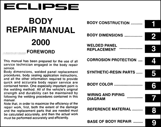 2000 2003 mitsubishi eclipse body manual original rh faxonautoliterature com 2003 mitsubishi eclipse repair manual pdf 2003 mitsubishi eclipse repair manual free