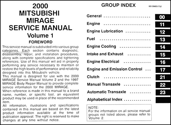2000MitsubishiMirageORM TOC1 2000 mitsubishi mirage repair shop manual set original mitsubishi mirage 2000 wiring diagram at gsmportal.co