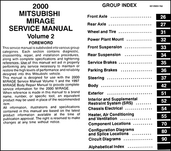 2000 Mitsubishi Mirage Repair Shop Manual Set Original