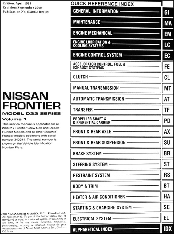 2000NissanFrontierORM TOC 2000 nissan frontier pickup repair shop manual set original 2002 nissan frontier fuse box diagram at crackthecode.co