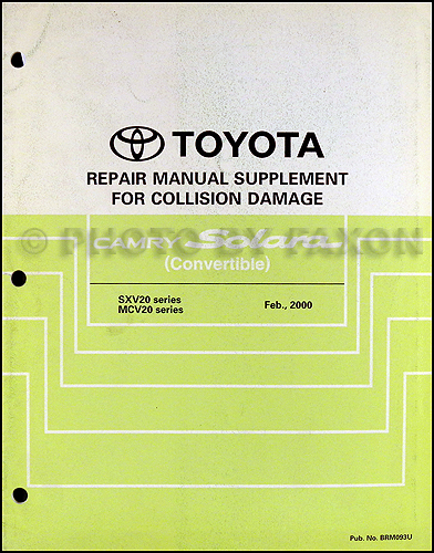 2000 Toyota Camry Solara Convertible Repair Shop Manual