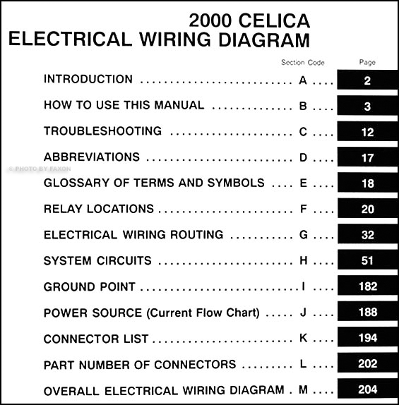 2000 toyota celica wiring diagram manual original rh faxonautoliterature com 2000 toyota celica ignition wiring diagram 2000 toyota celica stereo wiring diagram