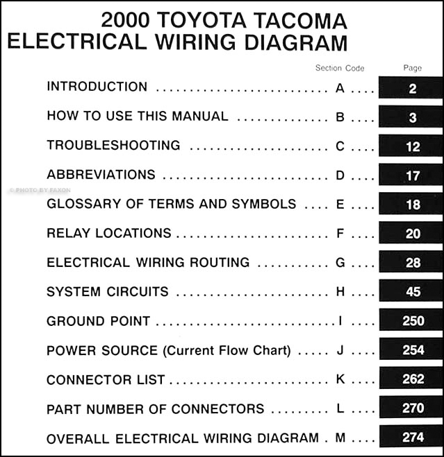 2000 toyota tacoma wiring diagram manual original